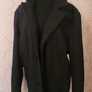 Black Rivet Wool Peacoat (XXL)